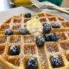 Lemon Ricotta Waffles with Mascarpone and Blueberries