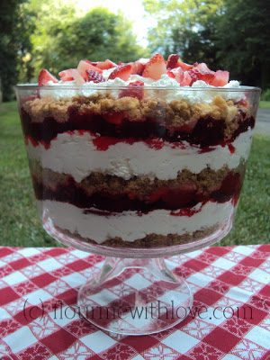 Layers of fresh strawberries, real whipped cream, jello, sweetened cream cheese, and buttery shortbread!