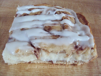 Stuffed Cinnamon Rolls with a creamy Vanilla Drizzle