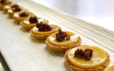 Salted Caramel Macaron with Smoked Gouda & Candied Bacon