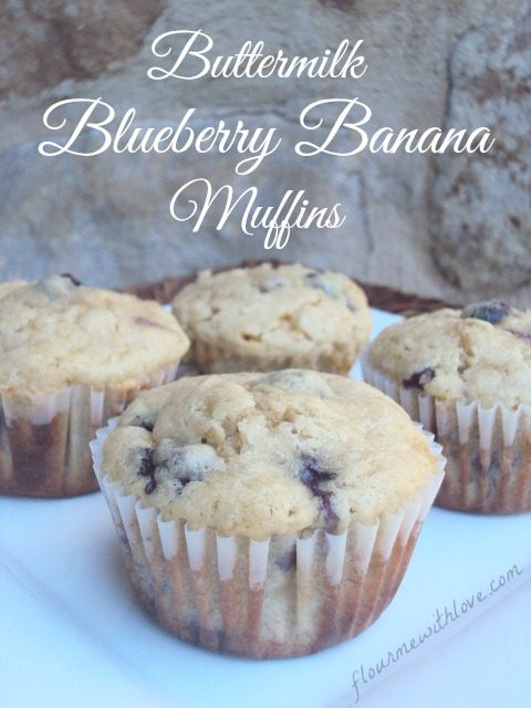 Flour Me With Love: Buttermilk makes these blueberry and banana muffins moist and delicious!