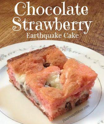 Chocolate Strawberry Earthquake Cake