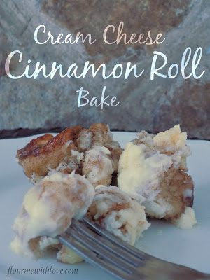 Cream Cheese Cinnamon Roll Bake uses frozen bread dough that's drenched in cinnamon, butter, sugar & sweetened cream cheese!