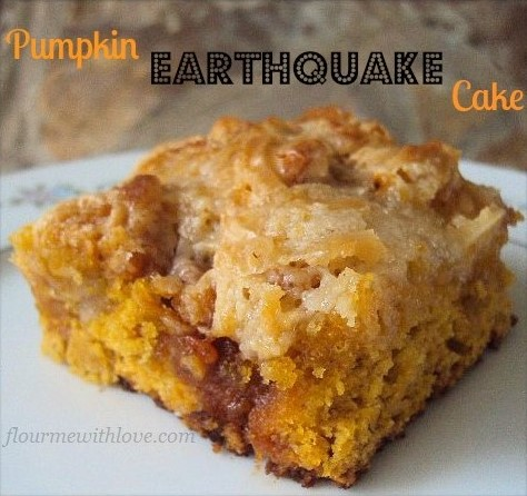 Pumpkin, cream cheese, butterscotch all whipped into an earthquake cake!