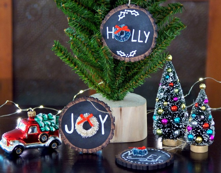 DIY Wood Slice Chalkboard Ornaments
