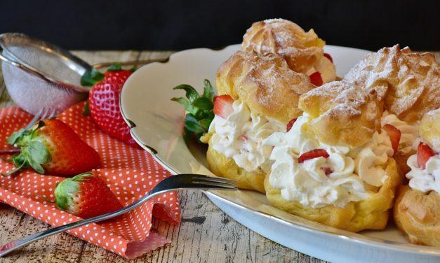 Vanilla Cream Puffs with Sweetened Cream Cheese & Strawberries